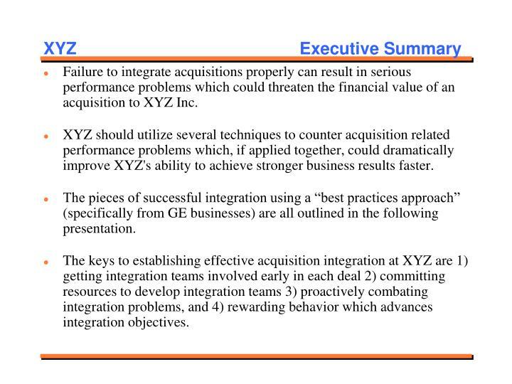XYZ   Executive Summary