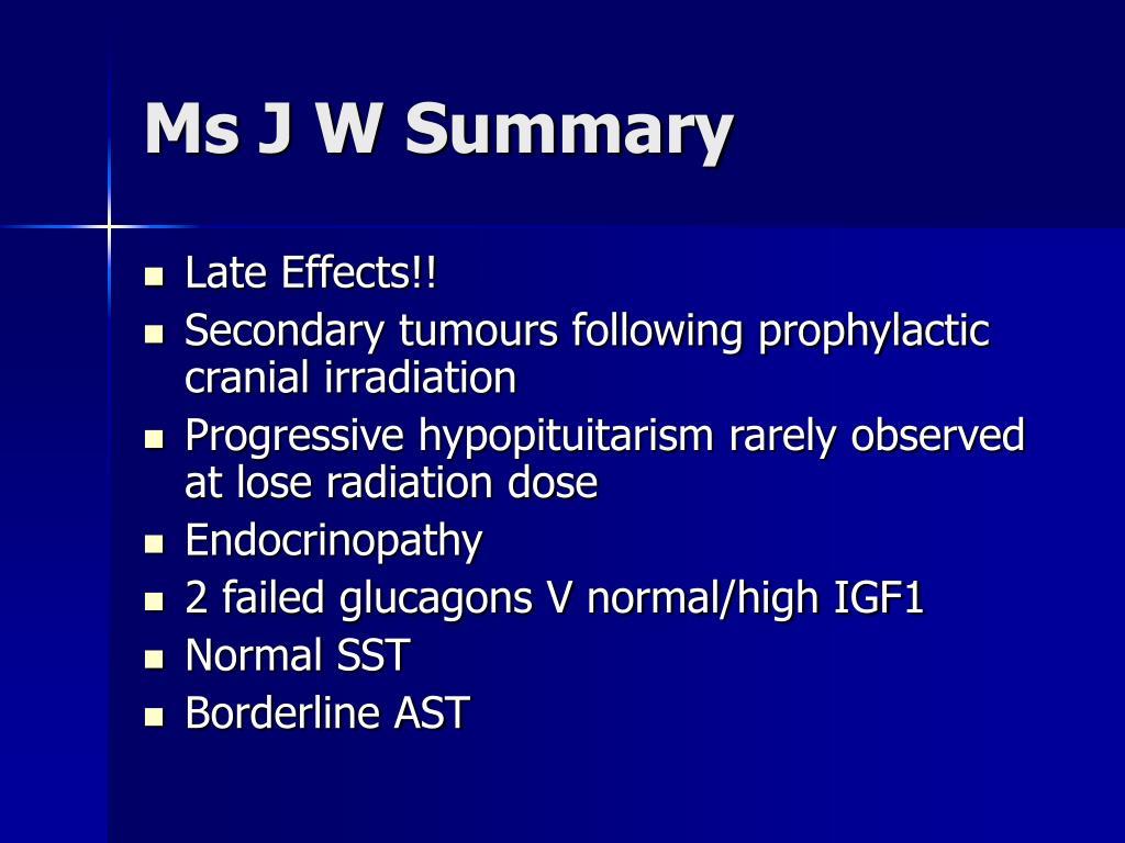 Ms J W Summary