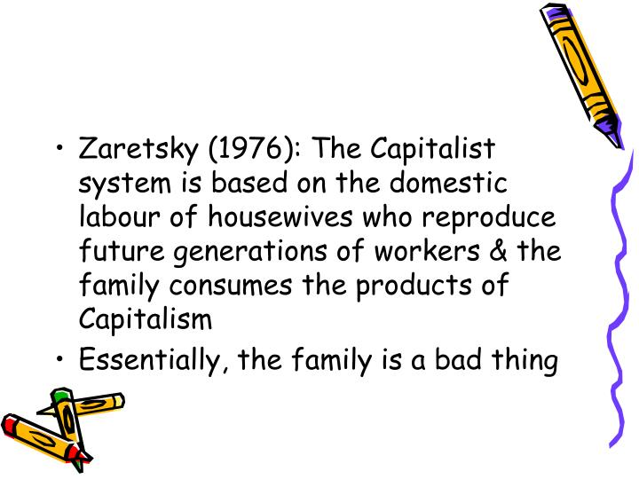 Zaretsky (1976): The Capitalist system is based on the domestic labour of housewives who reproduce future generations of workers & the family consumes the products of Capitalism