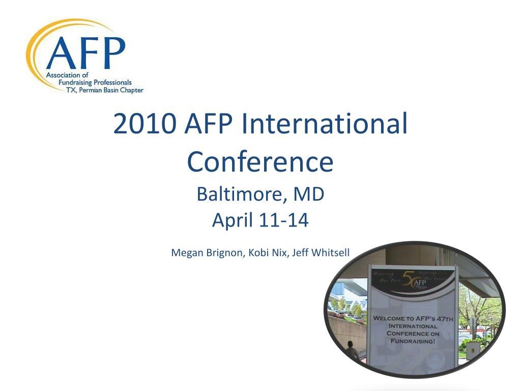 2010 afp international conference