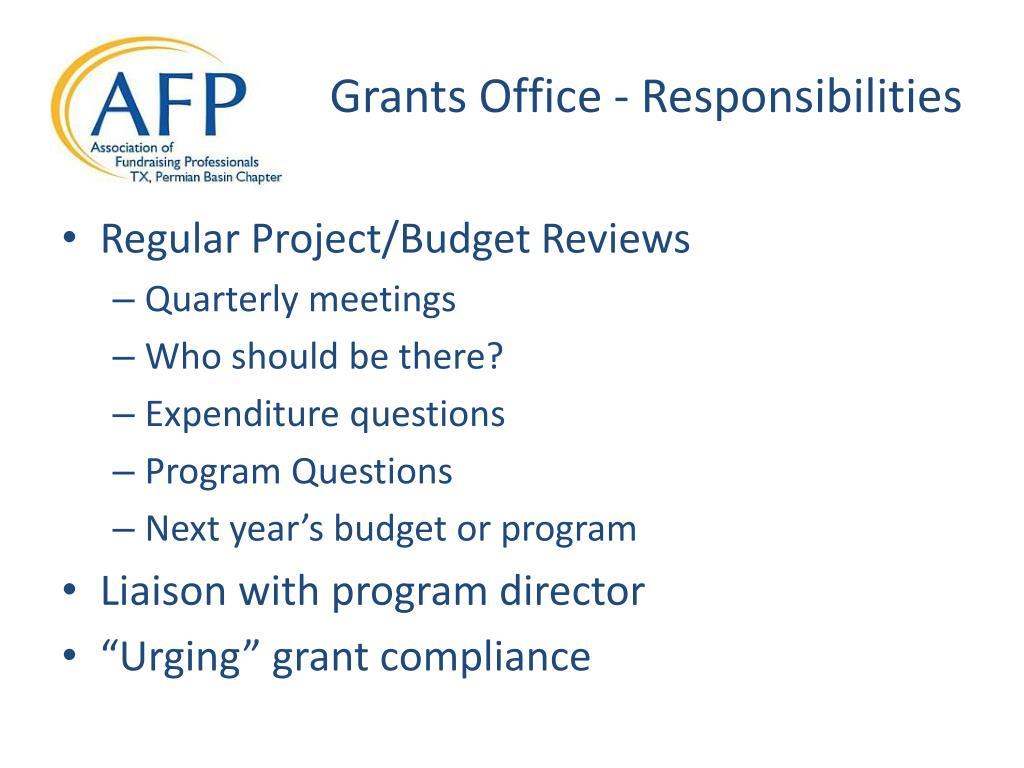 Grants Office - Responsibilities