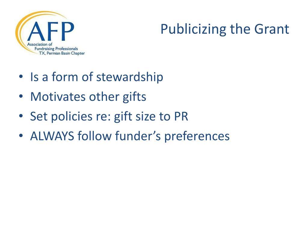 Publicizing the Grant