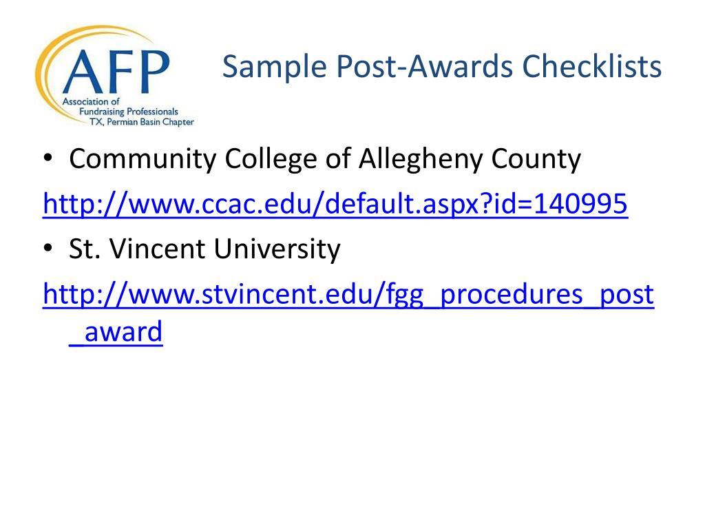 Sample Post-Awards Checklists