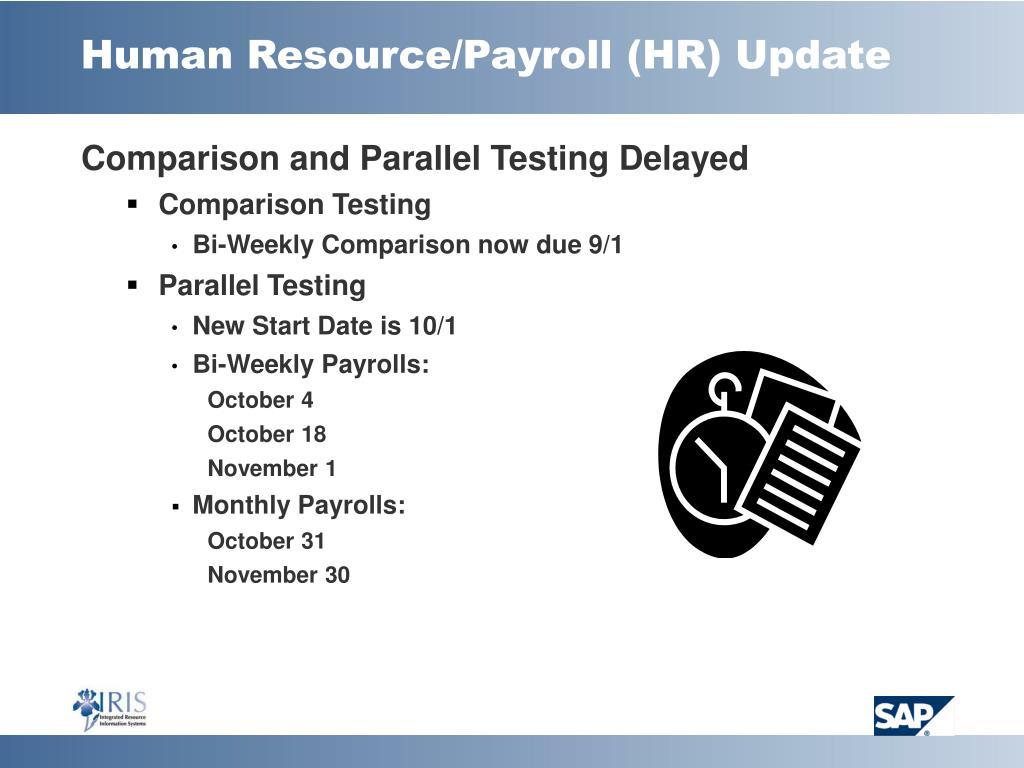 Human Resource/Payroll (HR) Update