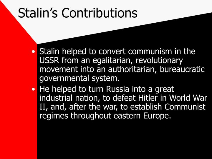 Stalin's Contributions
