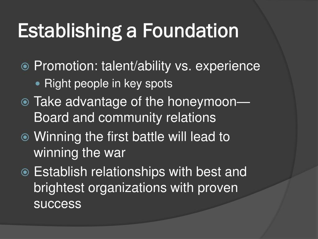 Establishing a Foundation