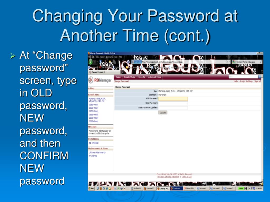 Changing Your Password at Another Time (cont.)