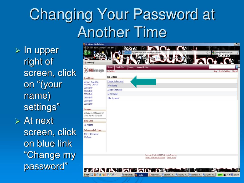 Changing Your Password at Another Time