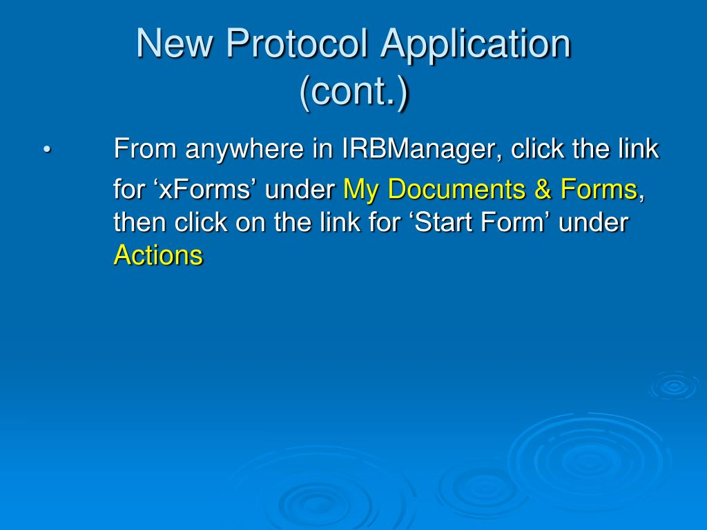 New Protocol Application