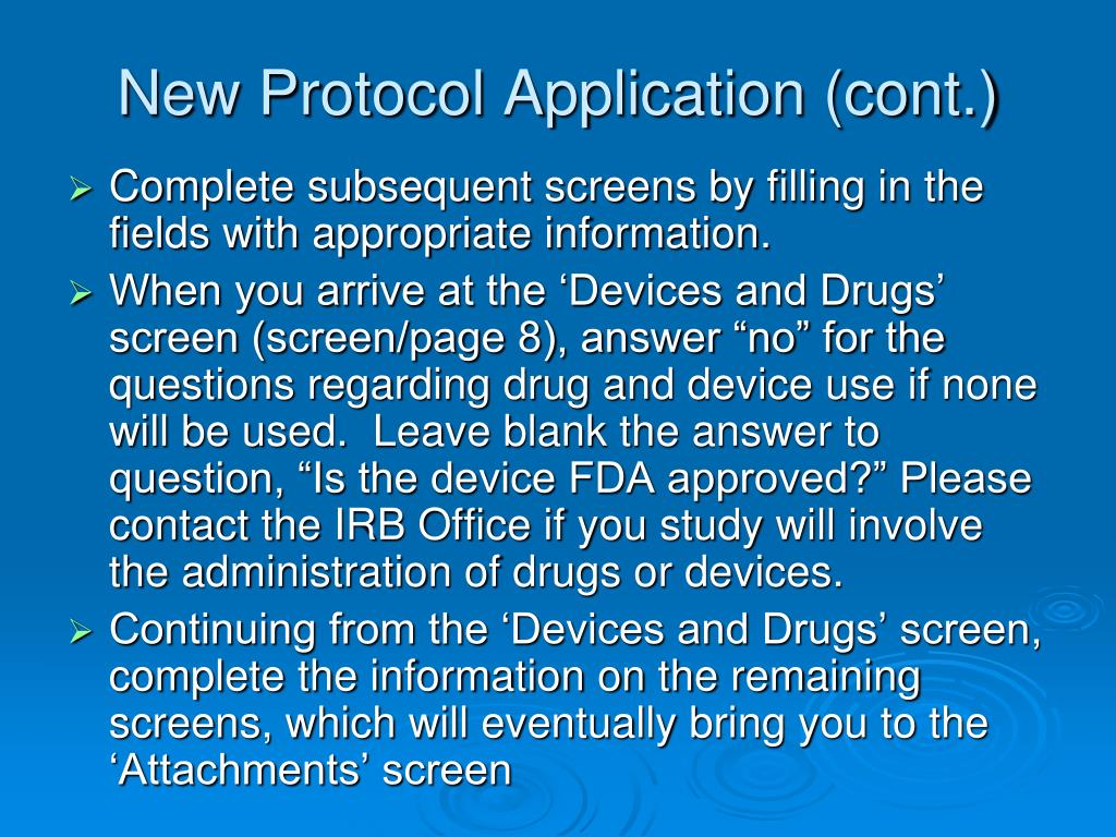 New Protocol Application (cont.)