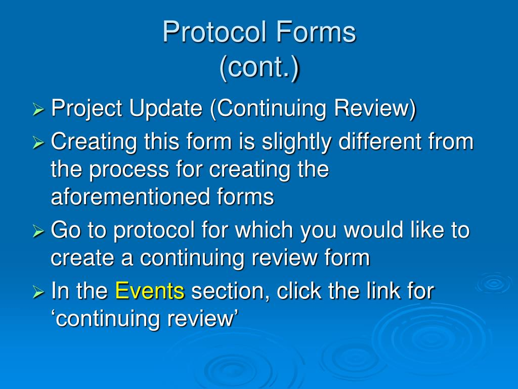 Protocol Forms