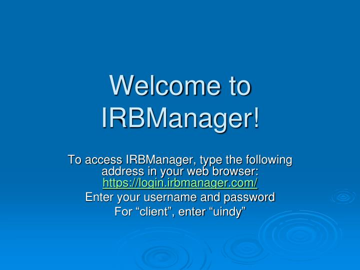Welcome to irbmanager