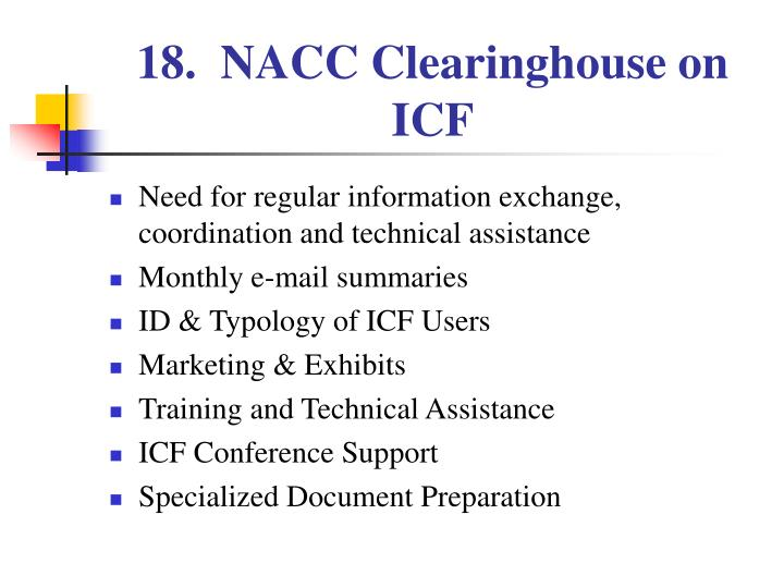 18.  NACC Clearinghouse on ICF