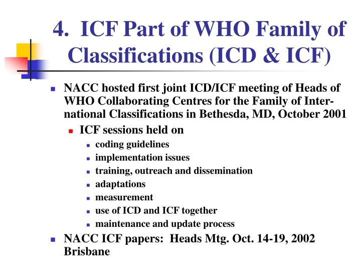 4.  ICF Part of WHO Family of Classifications (ICD & ICF)