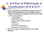 4 icf part of who family of classifications icd icf