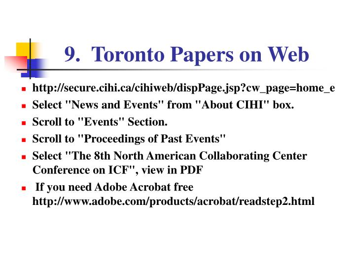 9.  Toronto Papers on Web