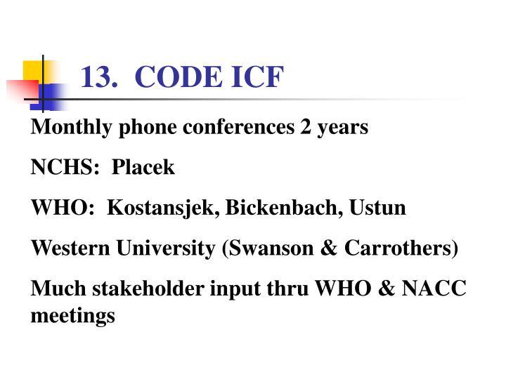 13.  CODE ICF