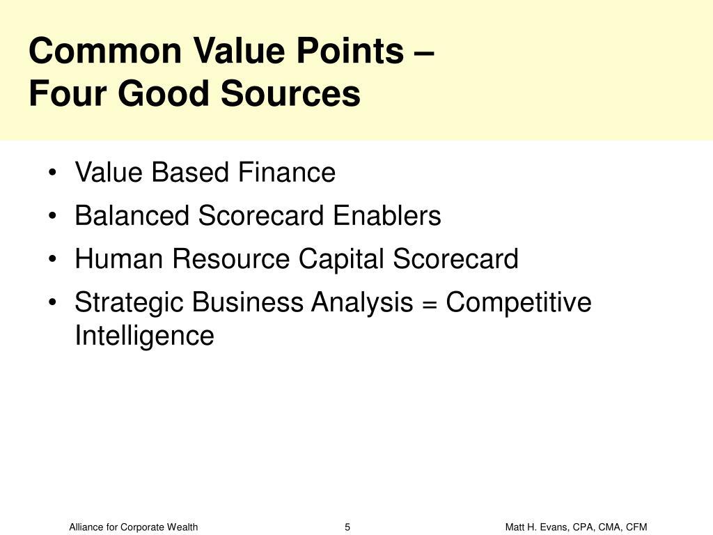 Common Value Points –