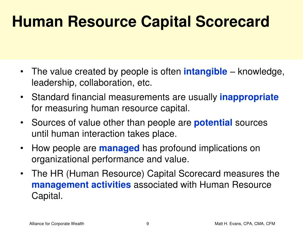 Human Resource Capital Scorecard