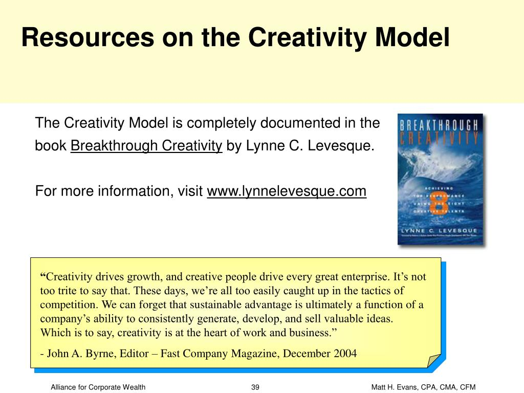 Resources on the Creativity Model