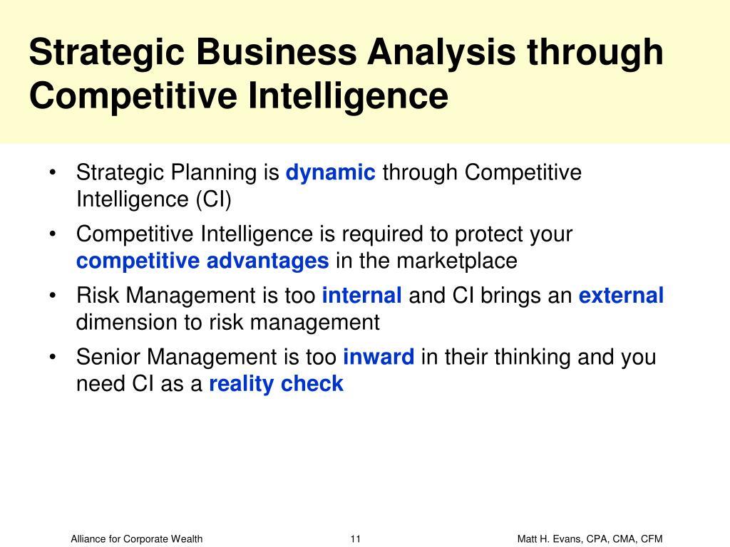 Strategic Business Analysis through Competitive Intelligence