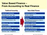 value based finance from accounting to real finance