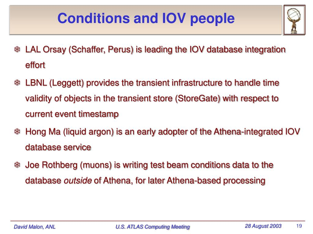 Conditions and IOV people