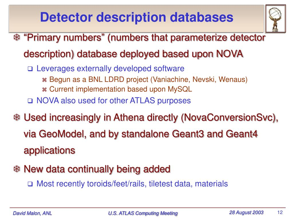 Detector description databases
