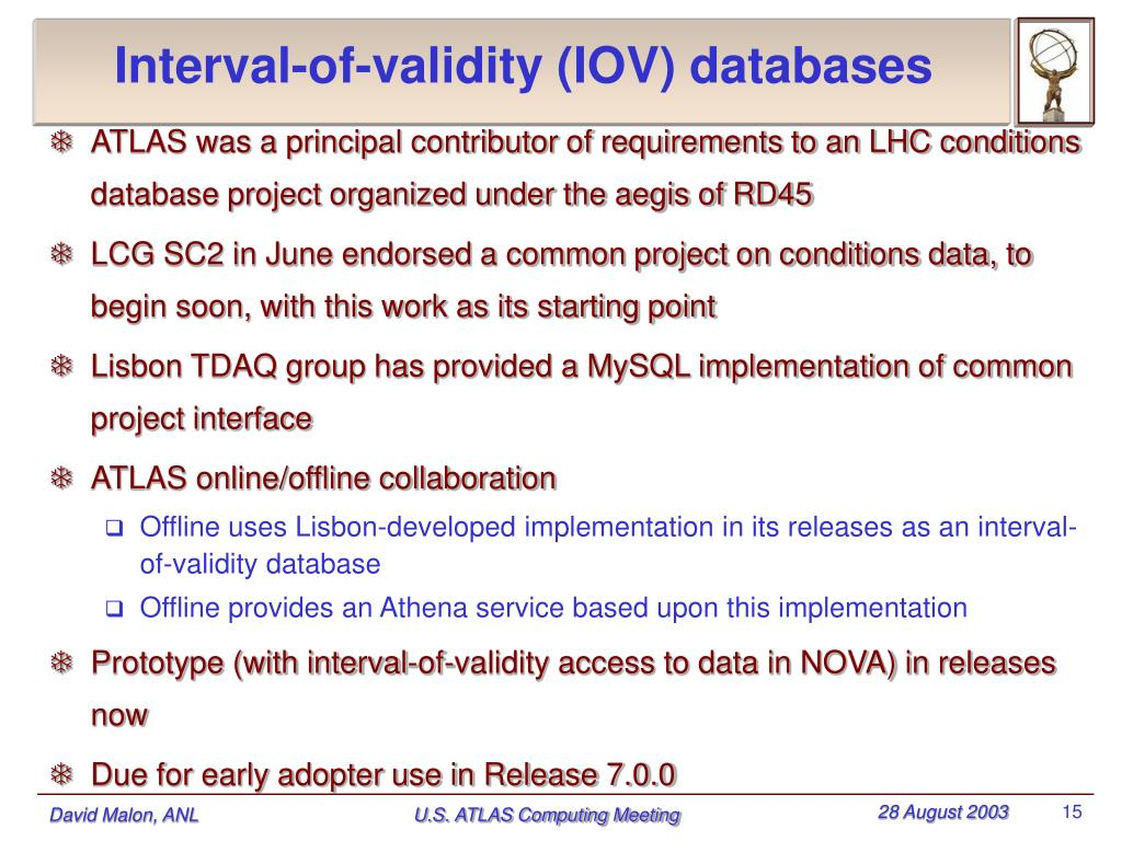 Interval-of-validity (IOV) databases
