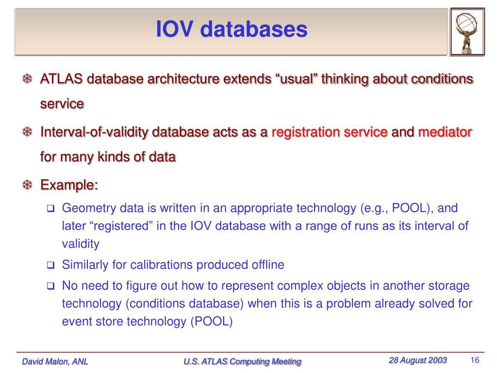 IOV databases