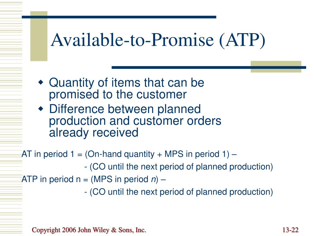Available-to-Promise (ATP)