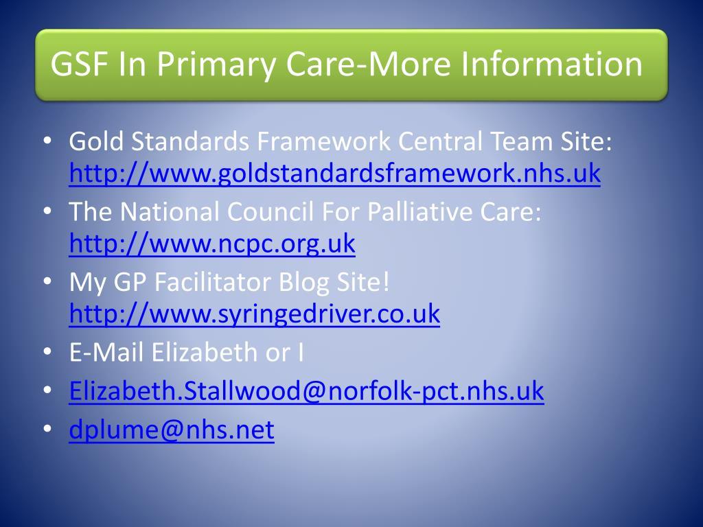 Gold Standards Framework Central Team Site: