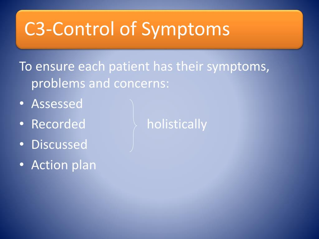 To ensure each patient has their symptoms, problems and concerns: