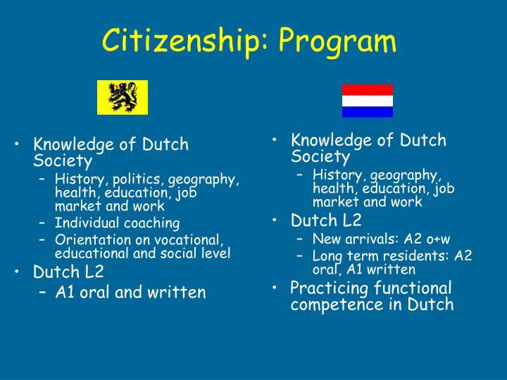 Knowledge of Dutch Society