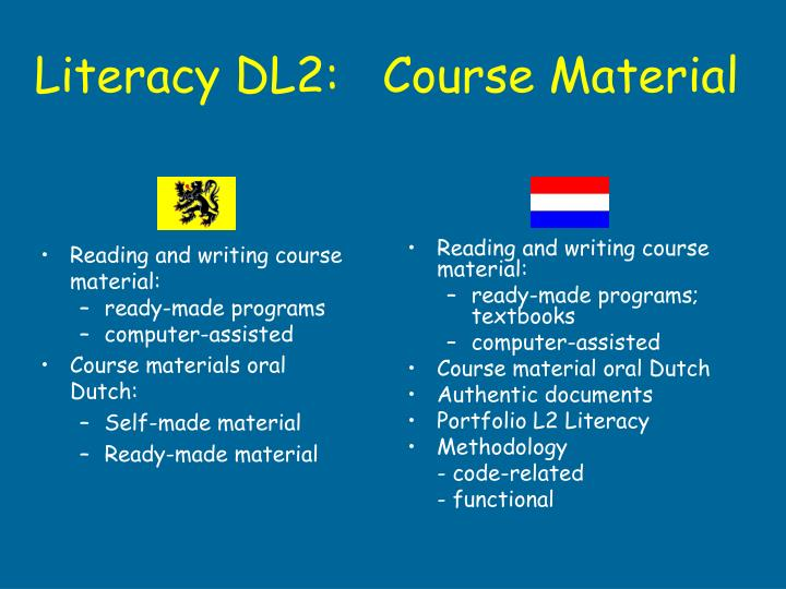Reading and writing course material: