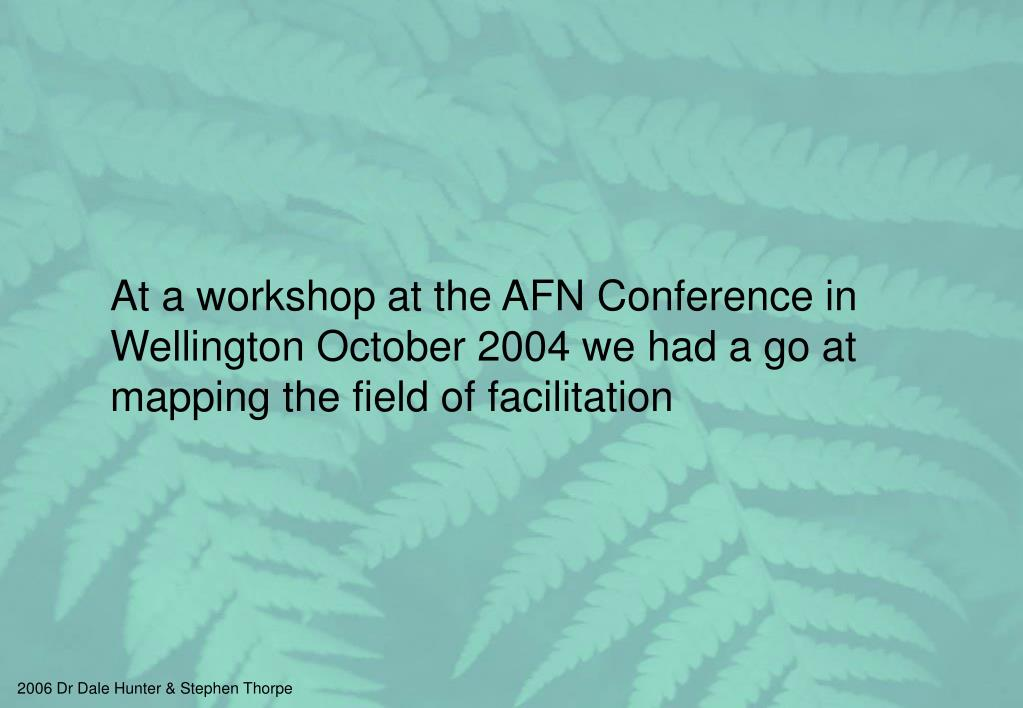 At a workshop at the AFN Conference in Wellington October 2004 we had a go at mapping the field of facilitation