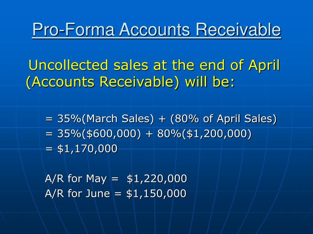 Pro-Forma Accounts Receivable