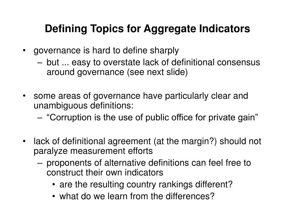 Defining Topics for Aggregate Indicators