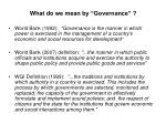 what do we mean by governance