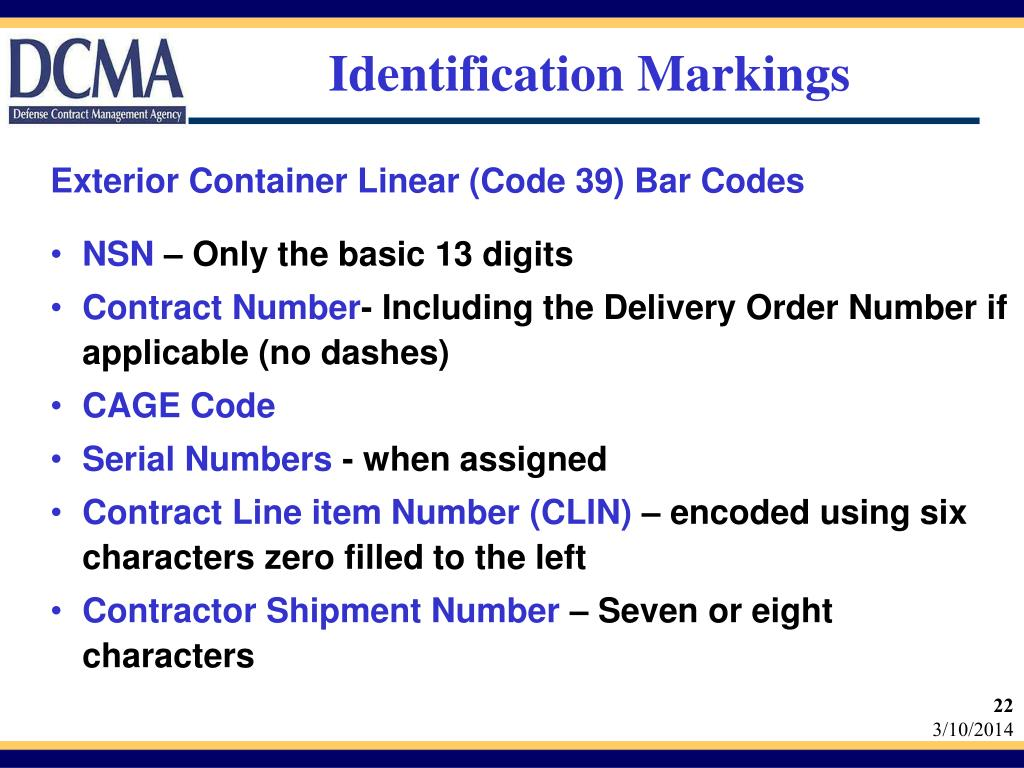 Exterior Container Linear (Code 39) Bar Codes