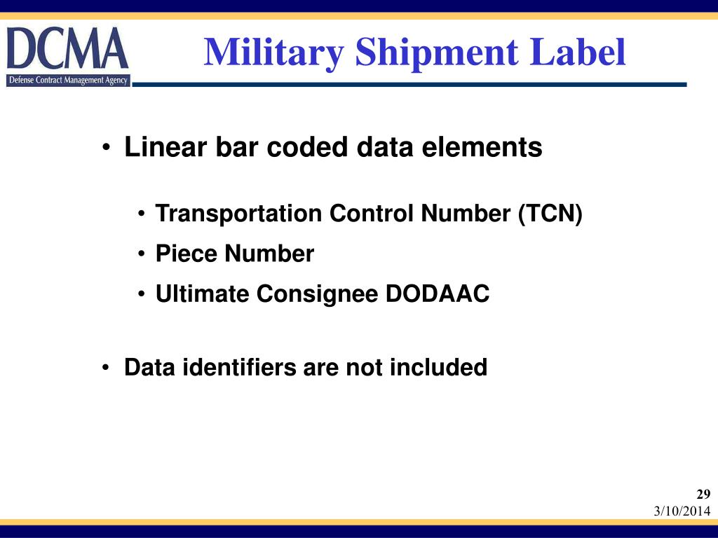 Military Shipment Label