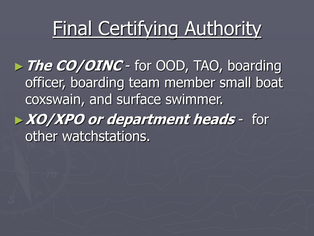 Final Certifying Authority