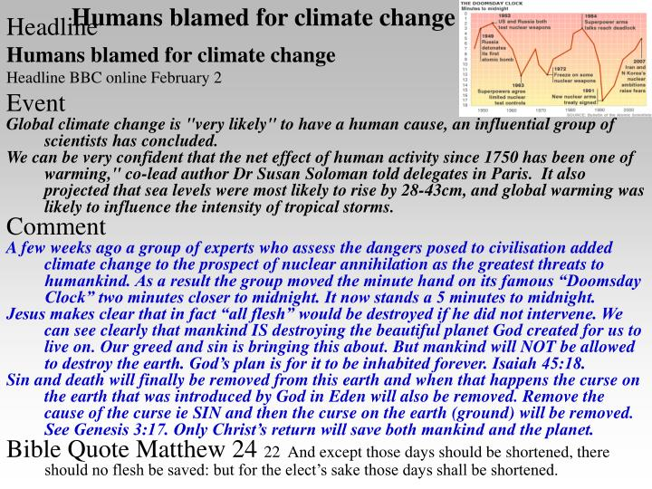 Humans blamed for climate change