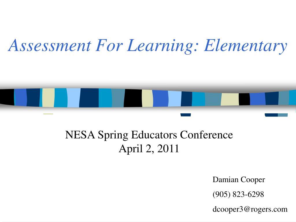 assessment for learning elementary
