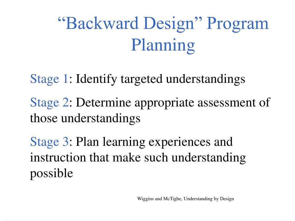 """Backward Design"" Program Planning"