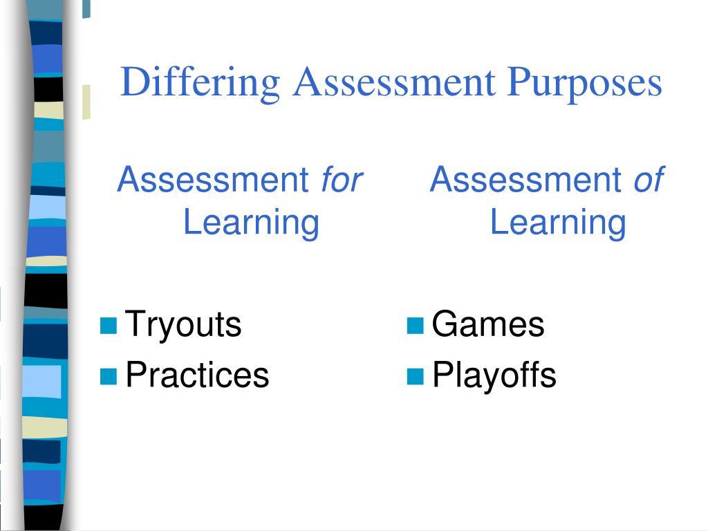 Differing Assessment Purposes