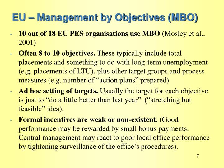 EU – Management by Objectives (MBO)
