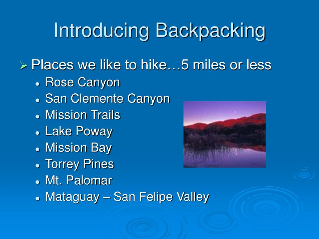 Introducing Backpacking