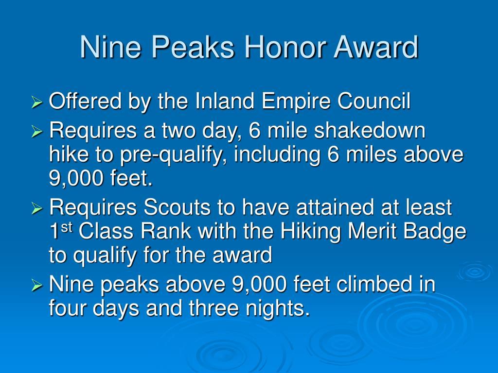Nine Peaks Honor Award