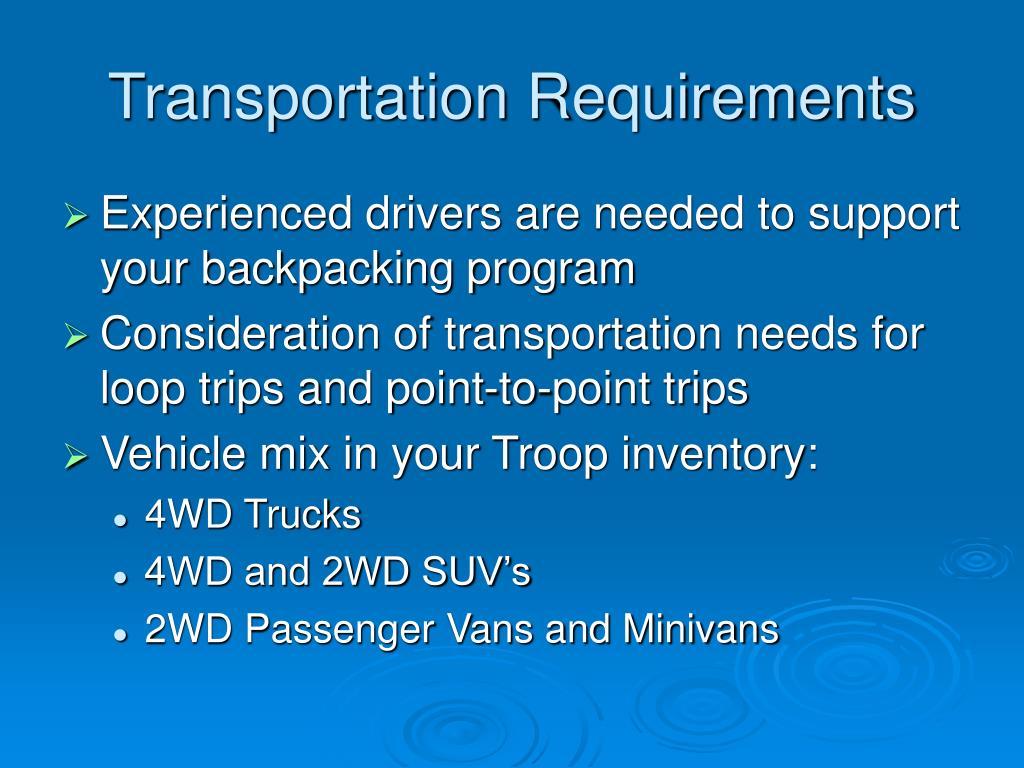 Transportation Requirements